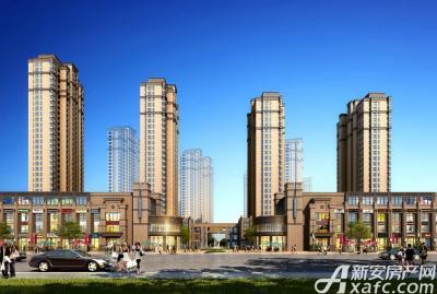 和顺名都城商业内街中心广场与北地块住宅入口透视