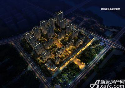古井悦湖城项目夜景鸟瞰效果图