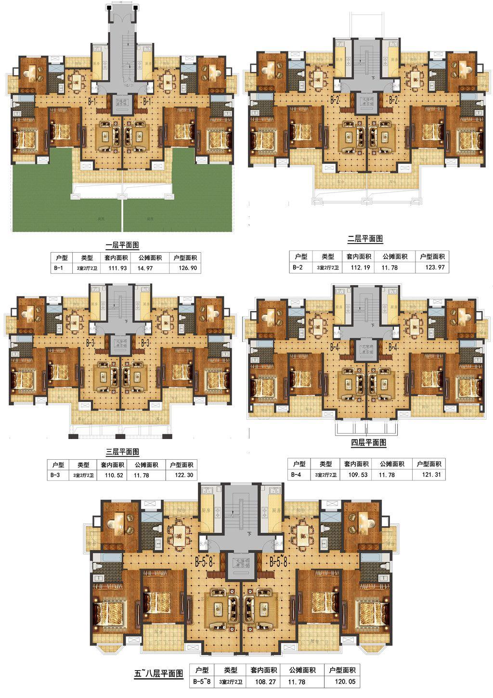 天景庄园B3室2厅123.97平米