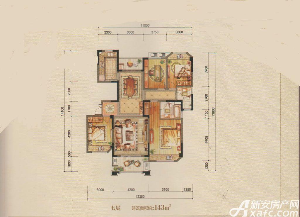 徽商·江南世家143㎡户型4室2厅143平米