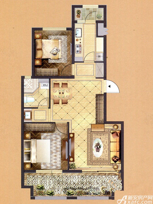 佳山墅C户型2室2厅95平米