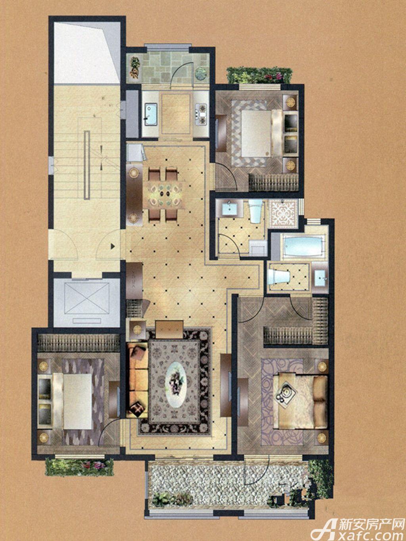 佳山墅B户型3室2厅118平米