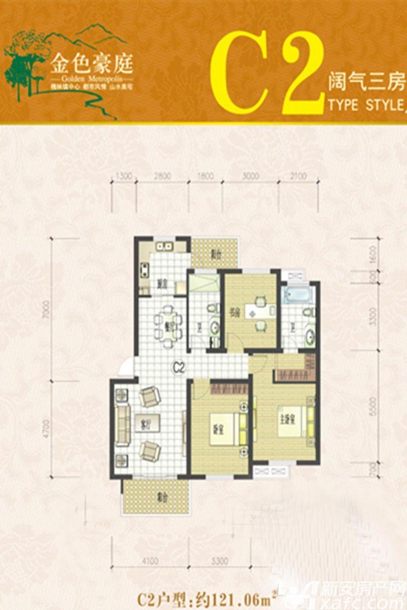 金色豪庭(槐林)C2户型3室2厅121.06平米