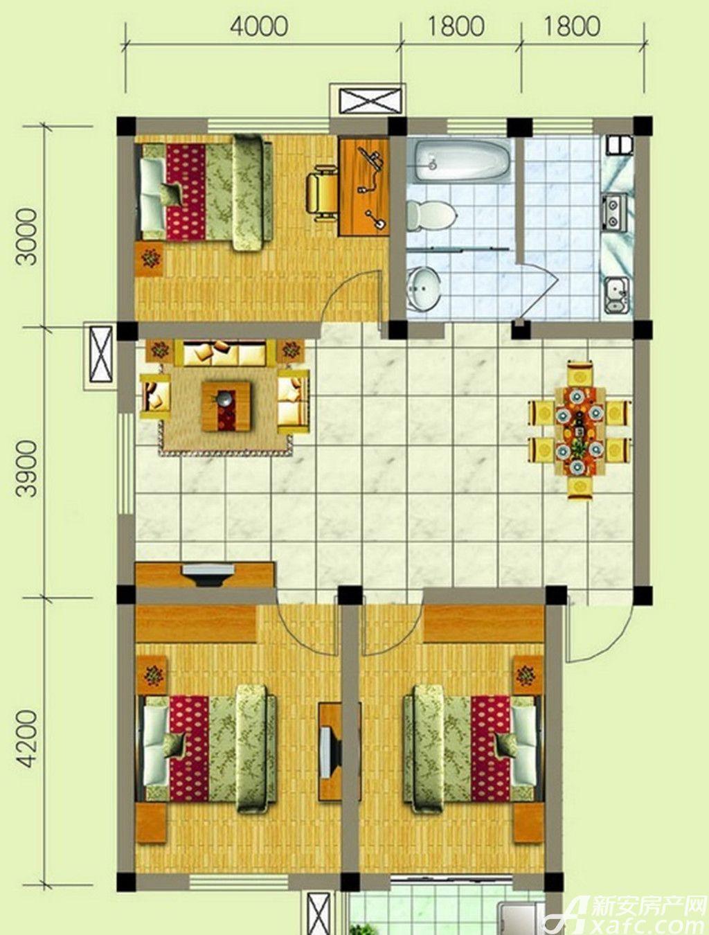 梧桐雅苑B1户型3室2厅92平米