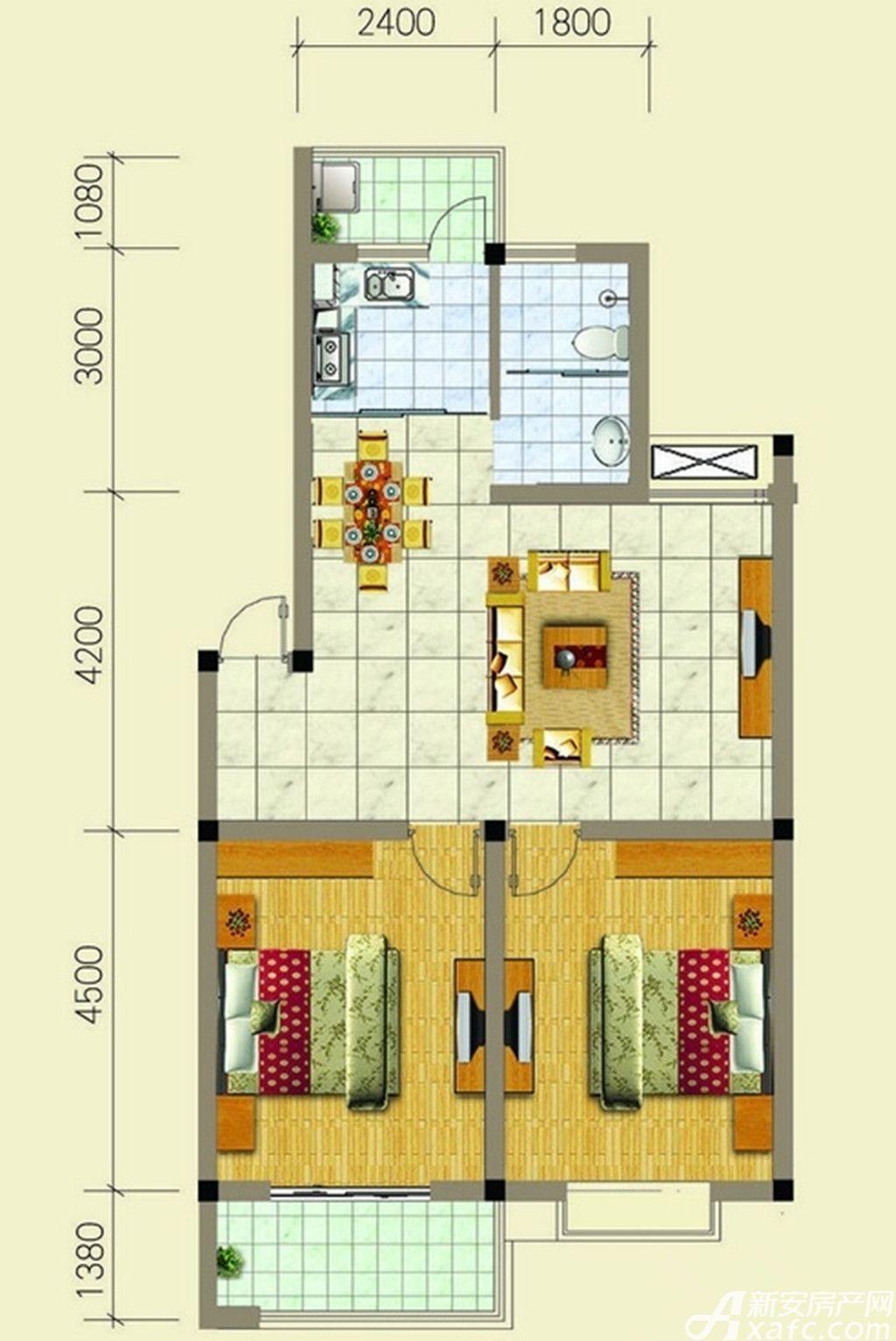 梧桐雅苑F户型2室2厅85平米