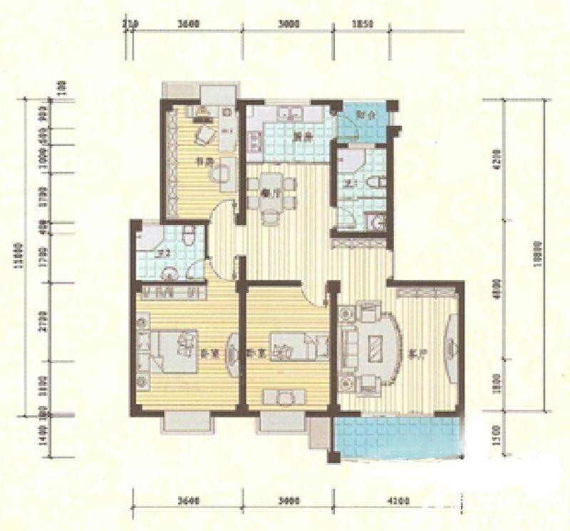 滨湖星辰C1户型3室2厅118平米