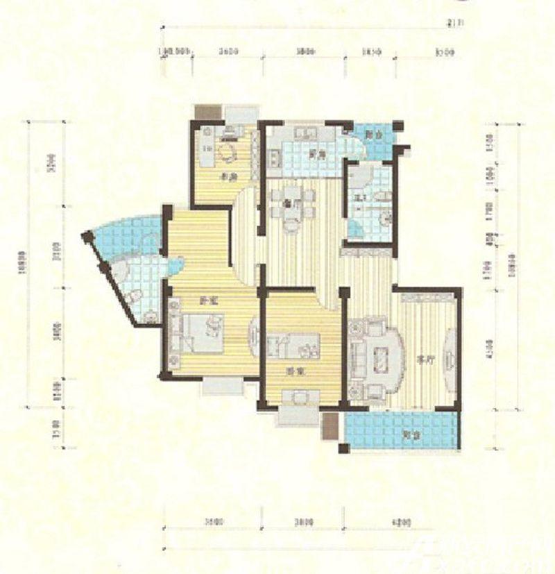 滨湖星辰D1户型3室2厅126平米