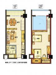 银河中心LOFT公寓户型2室2厅53㎡