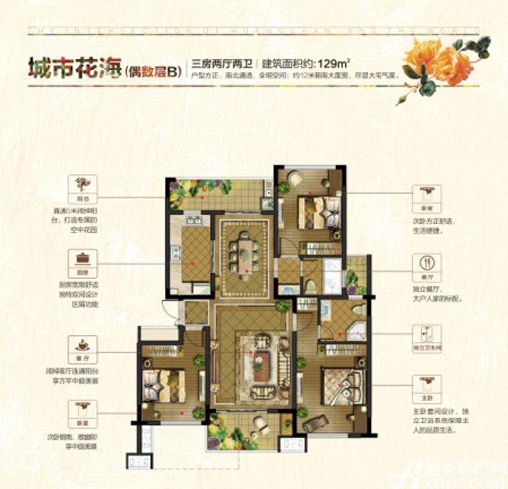 联佳爱这城城市花园B(偶)3室2厅129平米