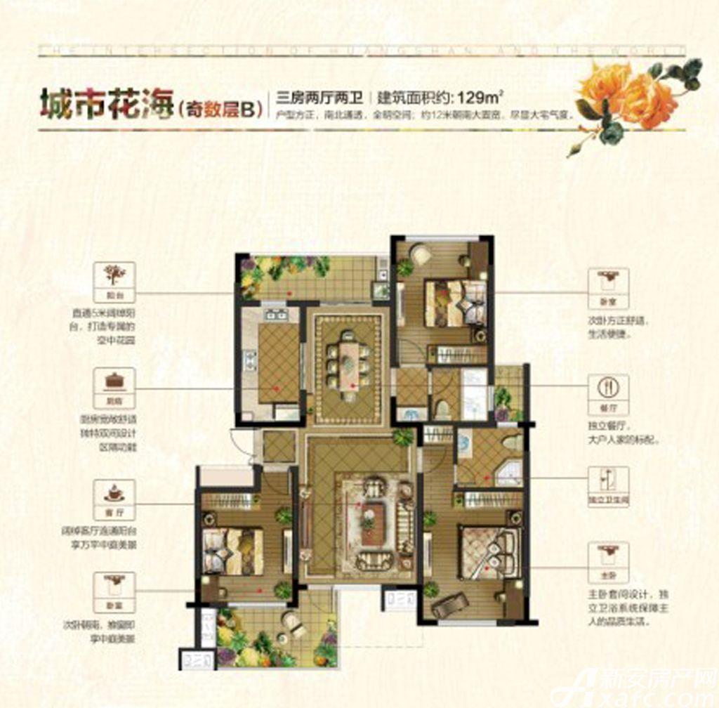 联佳爱这城城市花园B(奇)3室2厅129平米