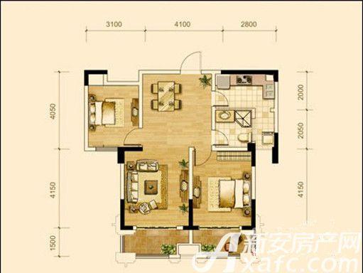 德胜中央城A2户型2室2厅87平米
