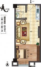 华中城A户型1室1厅49㎡