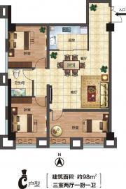 华中城C户型3室2厅98㎡