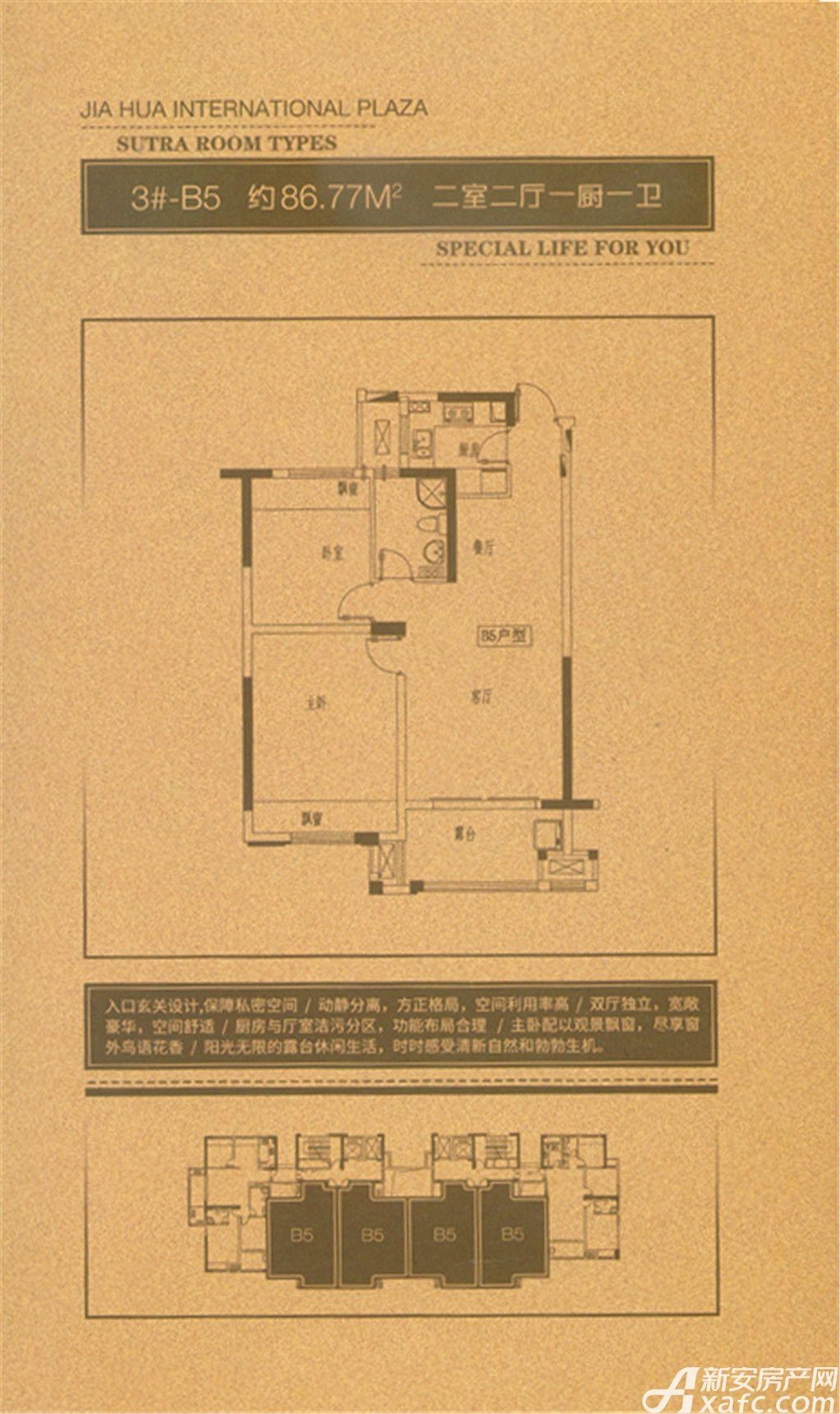 嘉华美庭3#-B53室2厅86.77平米