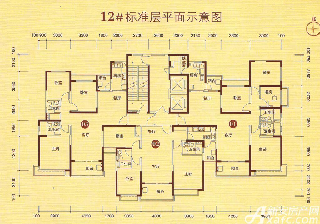 恒大城12#03户型3室2厅135平米