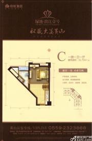 绿地滨江壹号C1室1厅51.75㎡