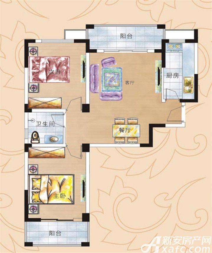 彩虹新城五期A户型2室2厅93平米