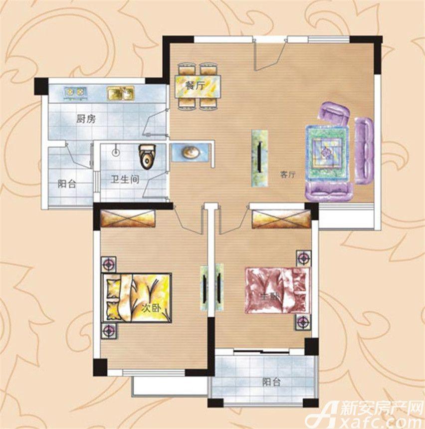 彩虹新城五期B户型2室2厅88平米