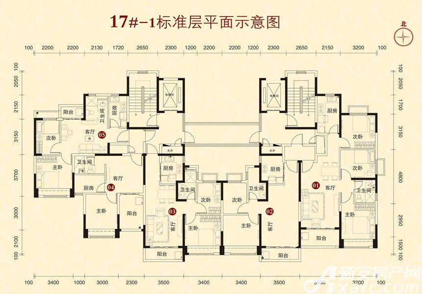 恒大城17#-13室1厅80平米