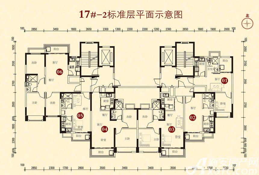 恒大城17#-23室2厅80平米