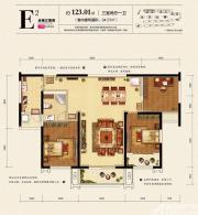 天都首郡13#E2户型3室2厅123.01㎡