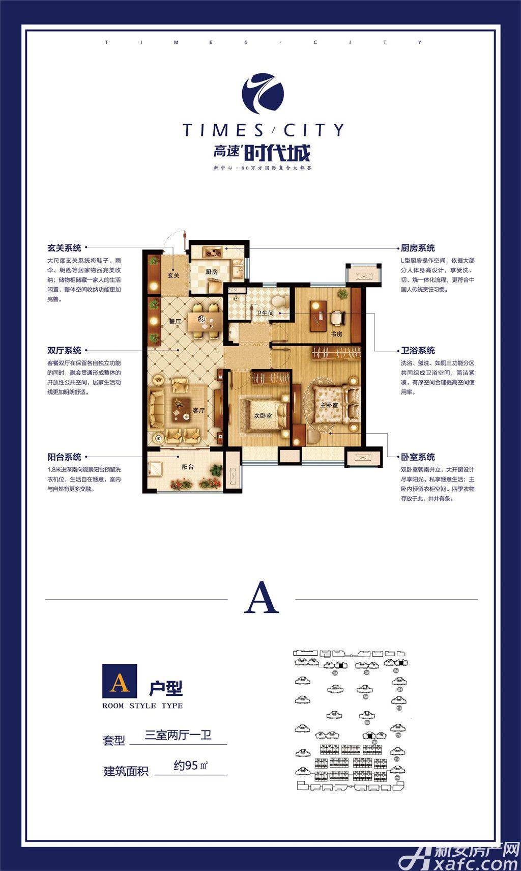 高速时代城A户型3室2厅95平米