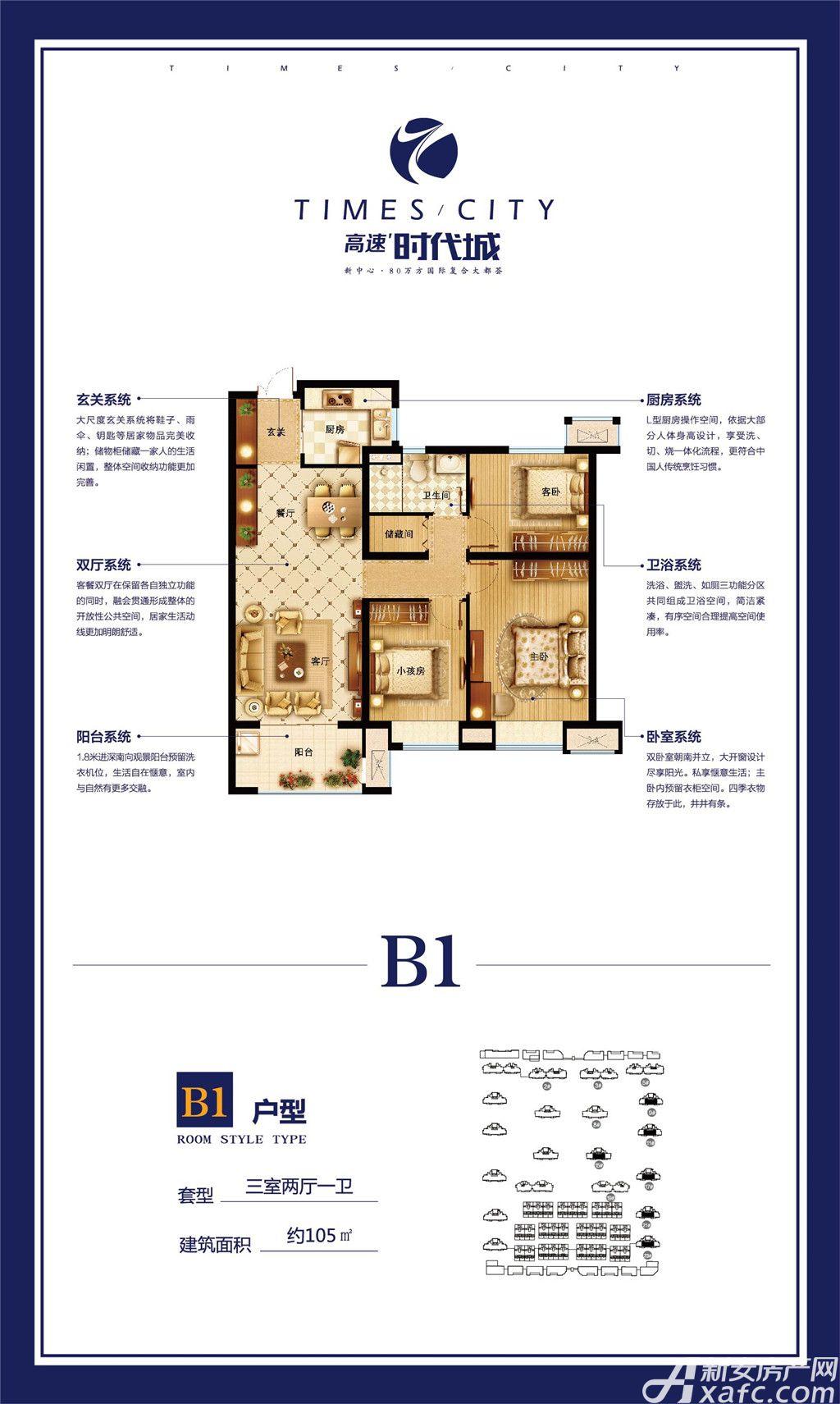 高速时代城B1户型3室2厅105平米