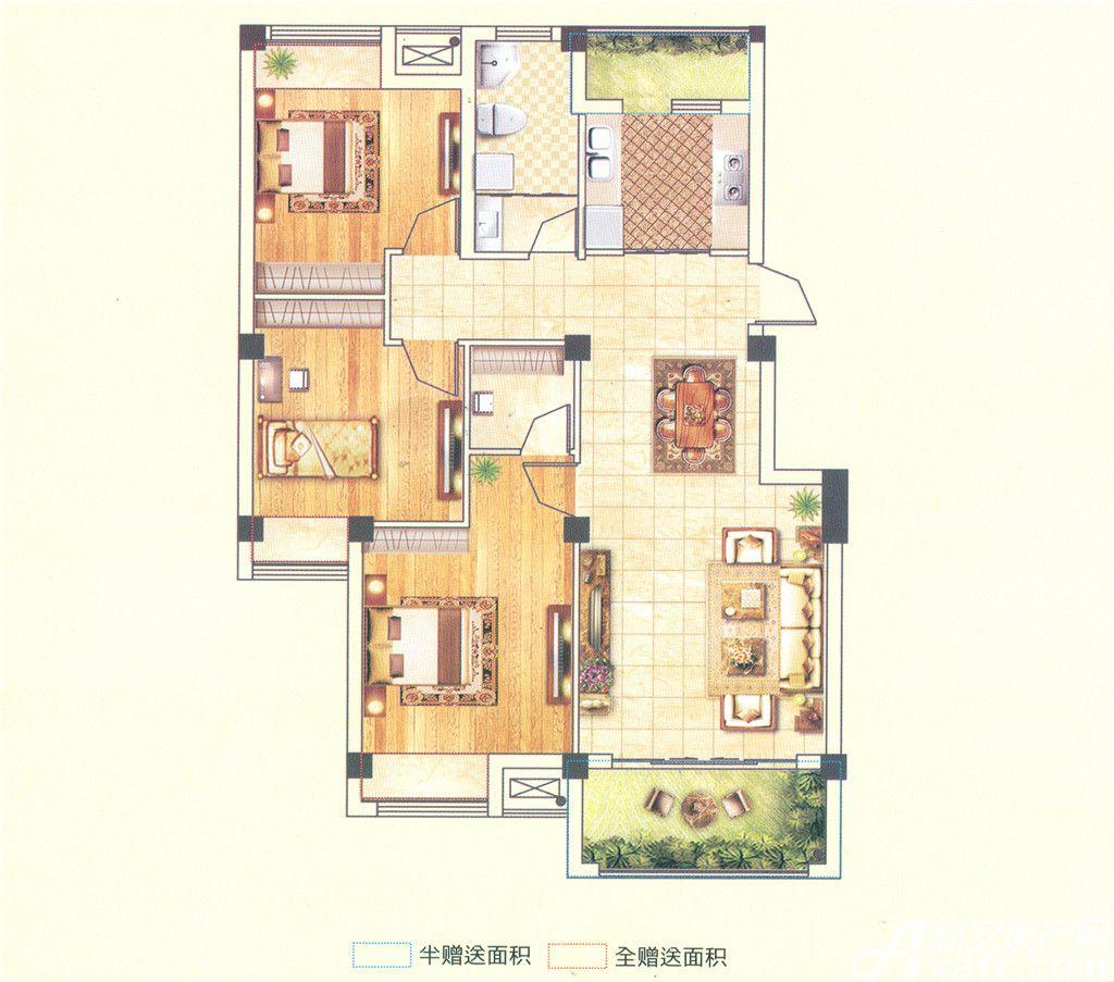 澳森半山美苑D户型3室2厅114.41平米