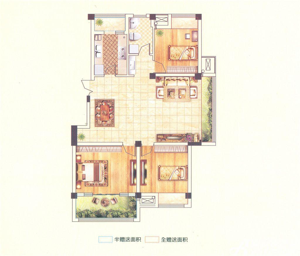澳森半山美苑C7户型3室2厅116.8平米