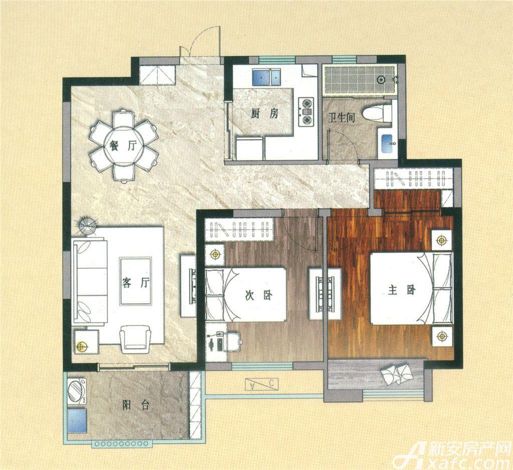 天景庄园E22室2厅84平米