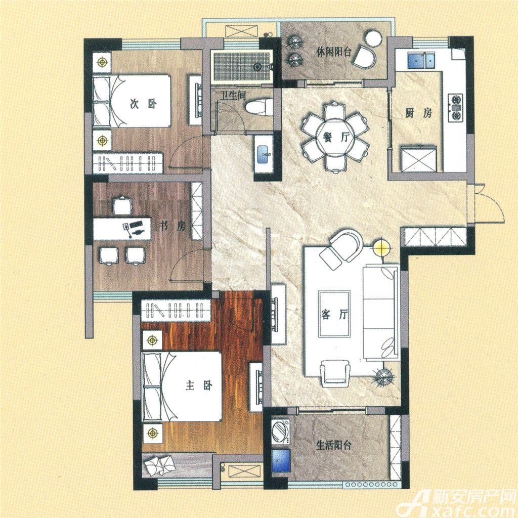 天景庄园E33室2厅105平米