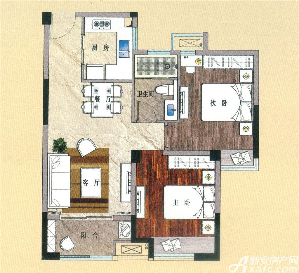 天景庄园G22室2厅75平米