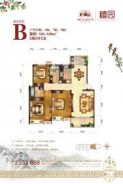 鸿威东方丽景禧园B户型(5#6#7#8#)3室2厅125㎡