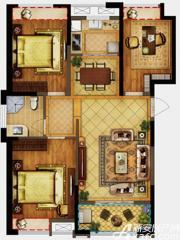 禹洲翡翠湖郡H1户型3室2厅108㎡