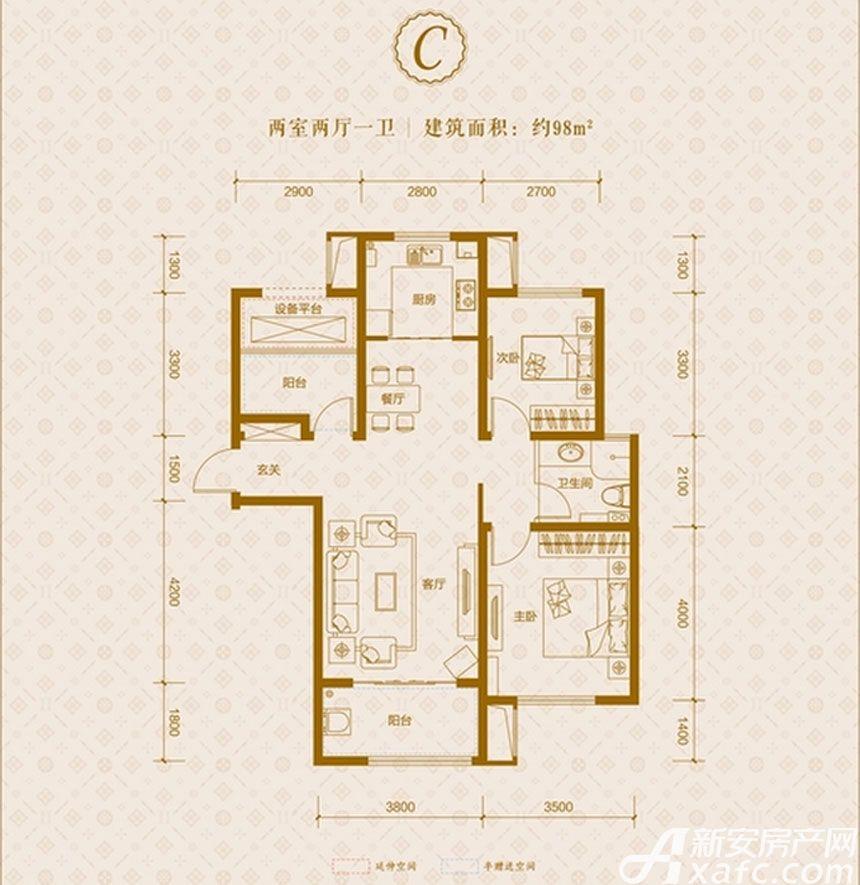 保利东郡C户型2室2厅98平米