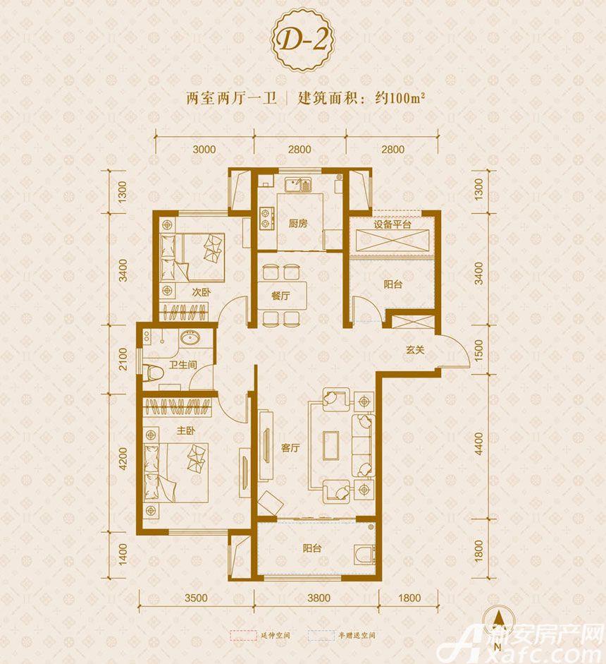 保利东郡D2户型2室2厅100平米
