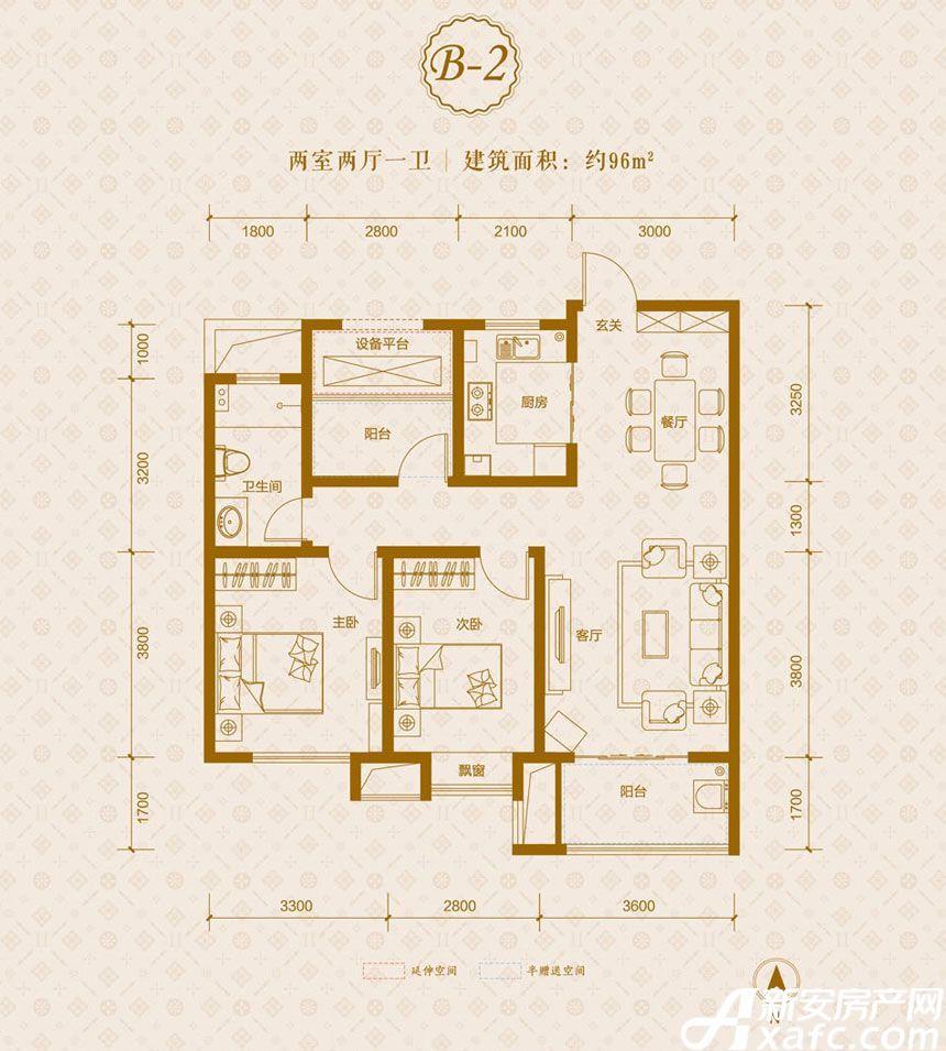 保利东郡B2户型2室2厅96平米