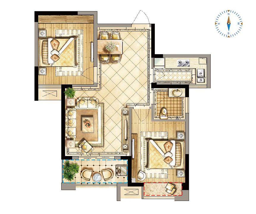 禹洲天境E2户型2室2厅83平米