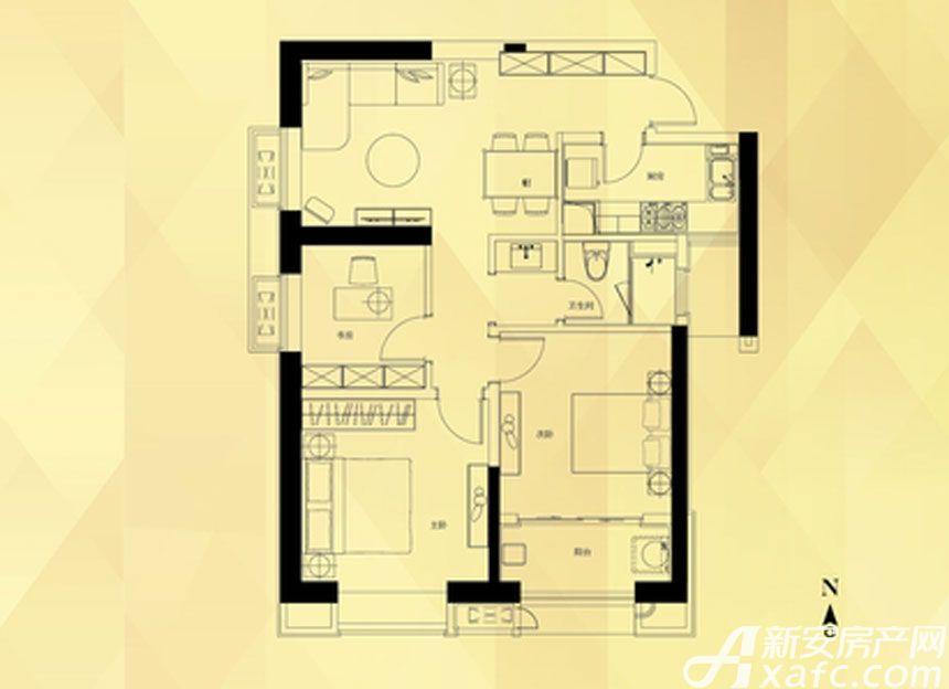 坝上街环球中心B户型3室2厅106.1平米