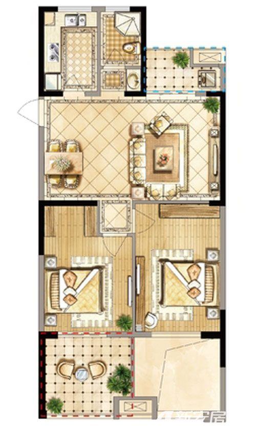 禹洲天境D6户型2室1厅92平米