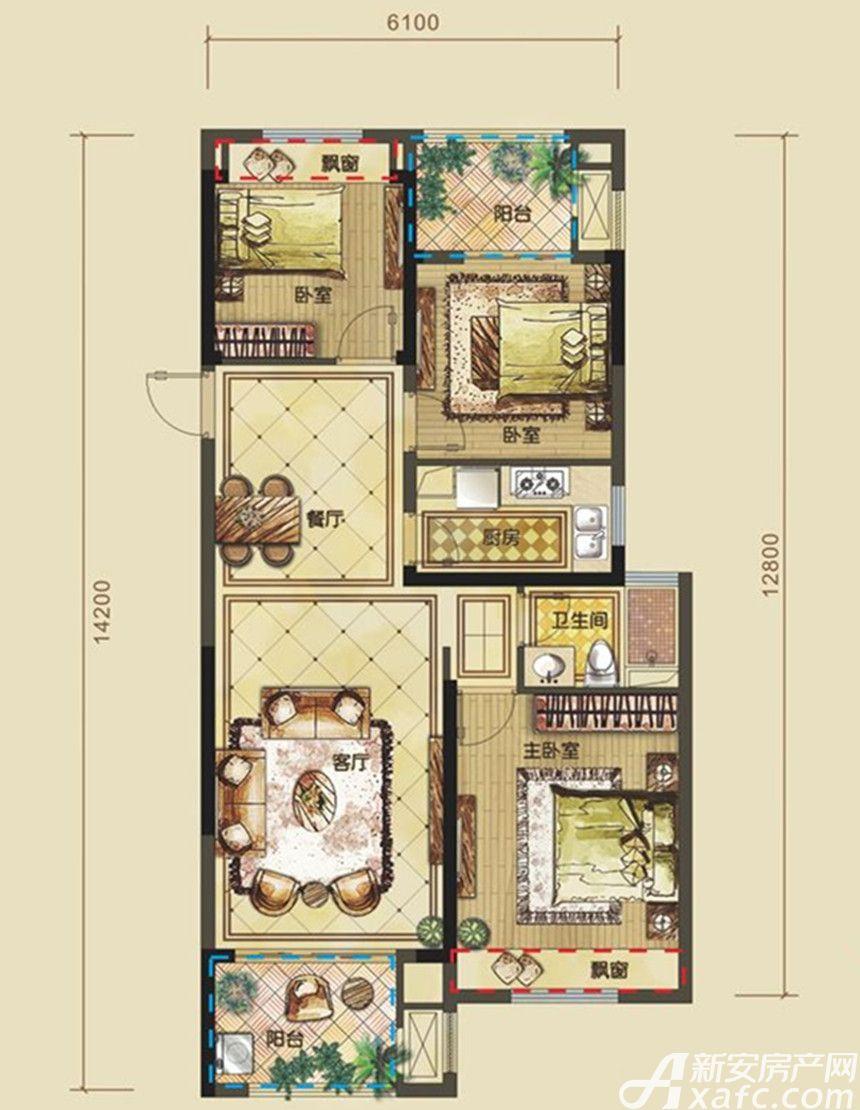 禹洲中央城御景领峰户型3室2厅95平米