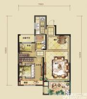 禹洲中央城精妙年华户型2室2厅78㎡