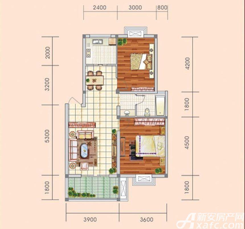 盛世新城F户型2室2厅80.8平米