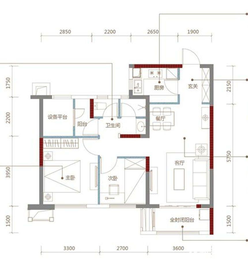 万科森林公园r2户型2室2厅85平米图片