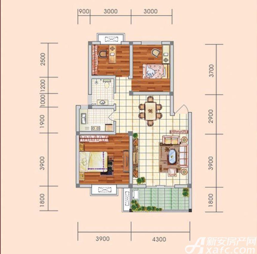 盛世新城A户型3室2厅88.3平米