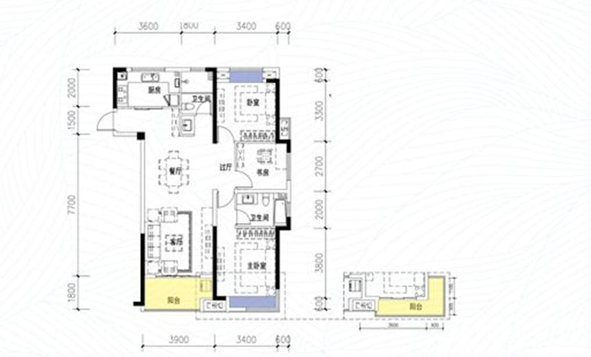 依澜雅居高层C23室2厅115平米