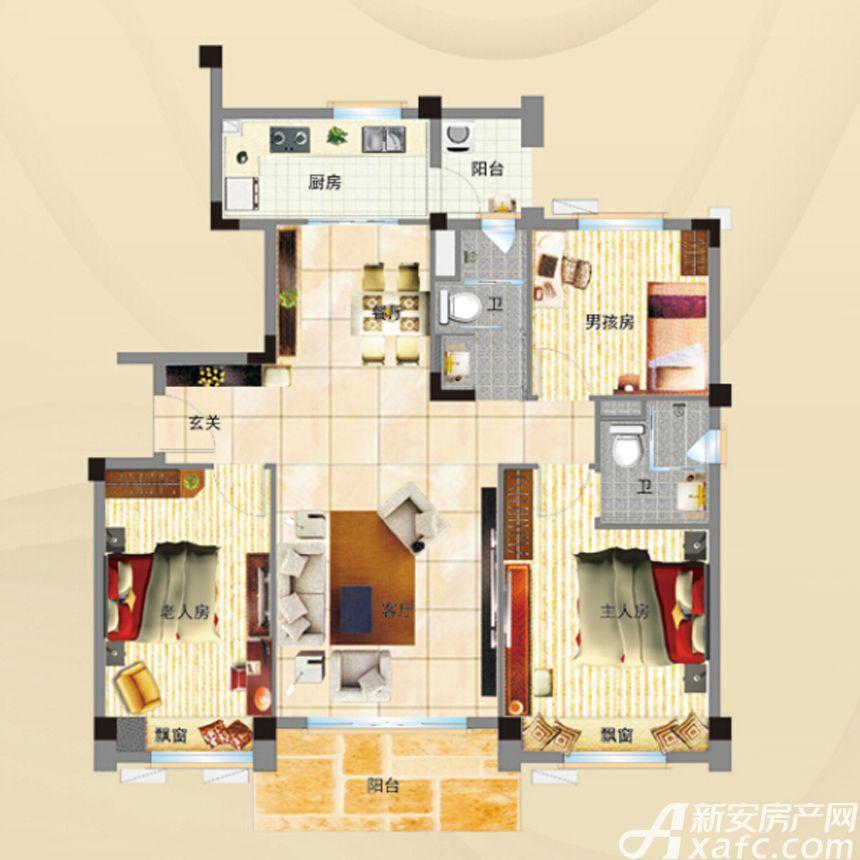 碧桂园YJ115T3室2厅115平米