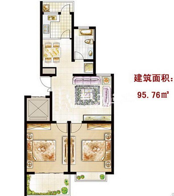 东一城GL户型2室2厅95.76平米