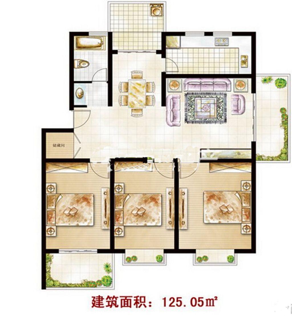 东一城DB户型3室2厅125.05平米