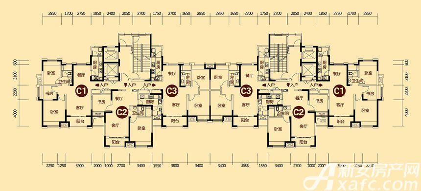 巢湖恒大帝景17#2室2厅84.44平米